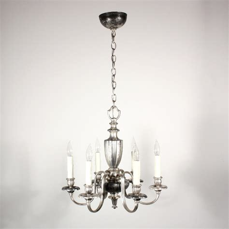 Georgian Chandelier Antique Silver Plated Six Light Georgian Chandelier C 1910 Nc1416 For Sale Antiques