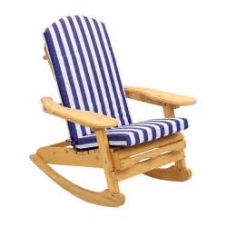 garden patio rocking chair with blue amp white striped cushion