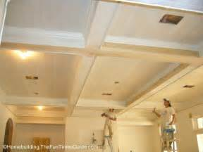 Ceiling Painting Going On In This New Great Room With A Nice Coffered Ceiling