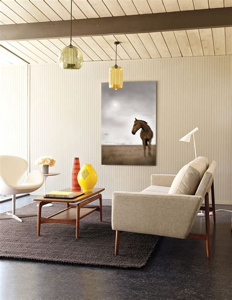 mid century sofa Living Room Modern with bifold doors