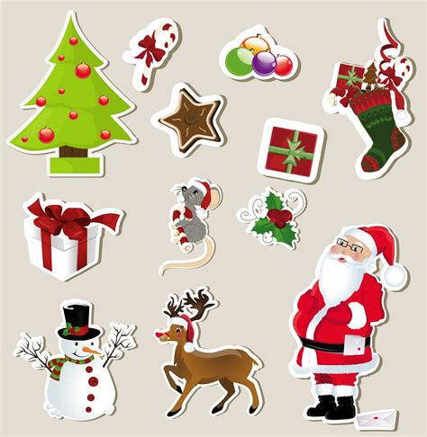 printable xmas stickers christmas stickers element 01 vector free vector 4vector