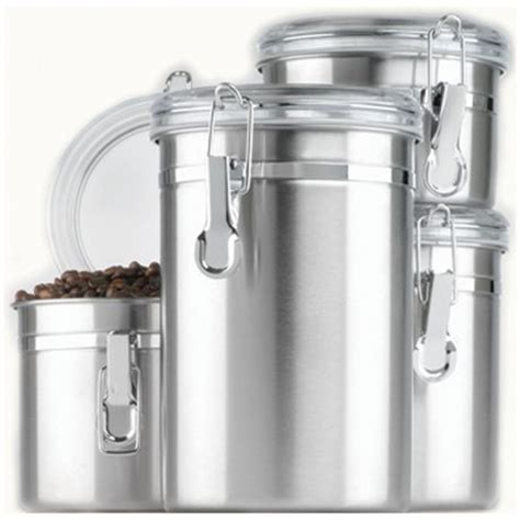 stainless steel kitchen canister sets 4 stainless steel cl canister set with clear lid