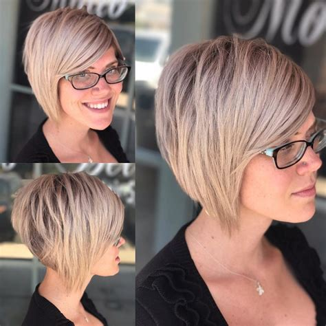 short choppy layered a line haircut women s choppy blonde stacked bob short hairstyles