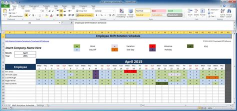 excel monthly employee schedule template color coded year calendar template calendar template 2016