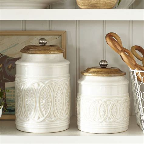 kitchen counter canisters ivory farmhouse canisters pier 1 imports my home