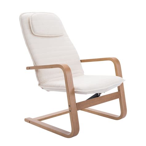 Scandinavian Recliner by Homcom Scandinavian High Back Bentwood Recliner White