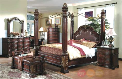 poster bedroom sets with canopy queen luxury poster canopy bed wood leather 5 piece