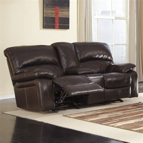 ashley furniture brown leather couch ashley furniture damacio leather glider reclining loveseat