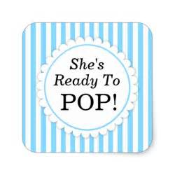 Ready To Pop Stickers Template she s ready to pop square sticker blue stripes zazzle