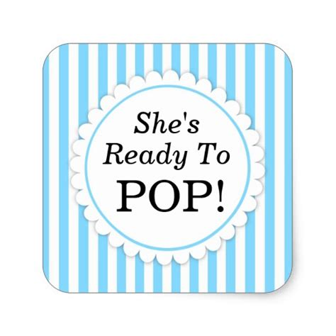 ready to pop stickers template she s ready to pop square sticker blue stripes zazzle
