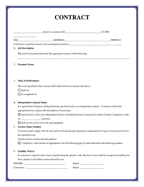 contract agreement templates 7 simple contractor agreement timeline template