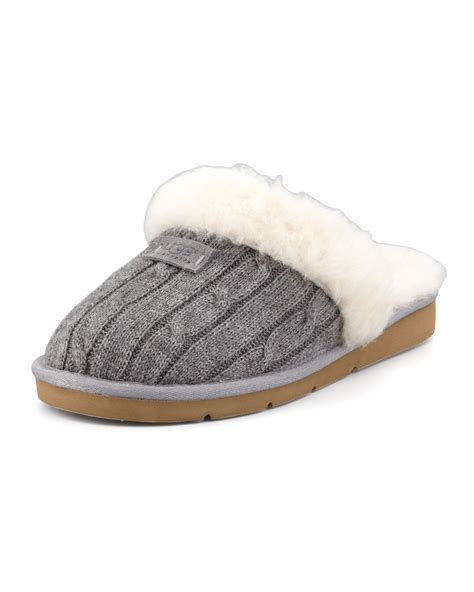 ugg knit slippers sale ugg cozy knit shearling slipper mule in beige