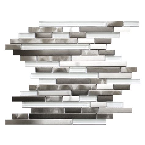 mosaic tile modern random mix steel glass ii emt