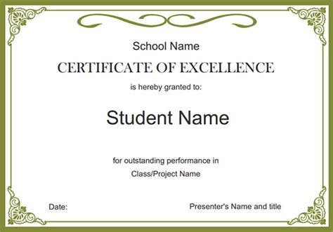 Free School Certificate Templates For Word school certificate templates certificate templates