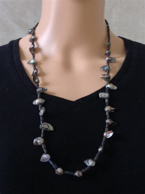 grey beading grey bead and necklace