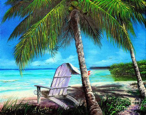 Palm Tree Wall Murals beach scene with palm tree and chairsindigobloomdesigns