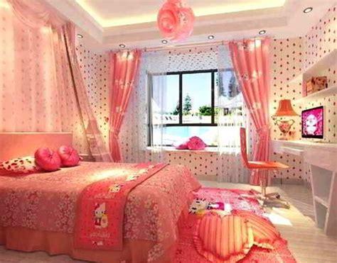 wallpaper dinding kamar nuansa pink desain kamar tidur hello kitty keren untuk perempuan