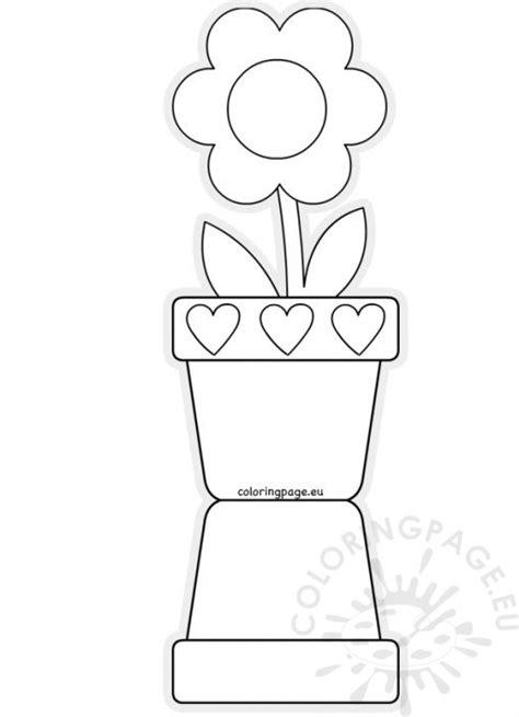 Potted Flower Card Templates by Coloring Page