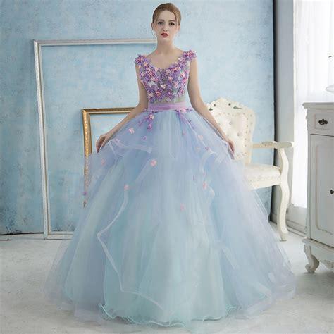 light blue flower dresses purple floral light blue tulle prom dress sleeveless v
