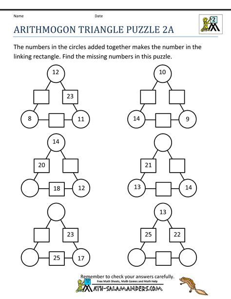 second grade math puzzles education maths