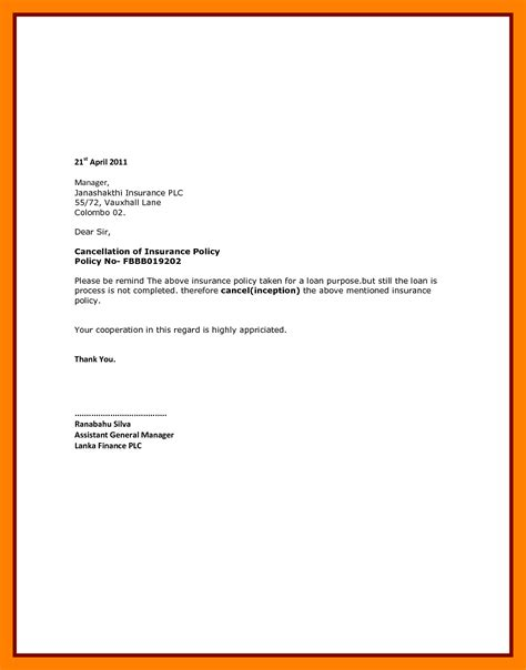 Cancellation Letter Insurance Company 5 Insurance Cancel Letter Students Resume