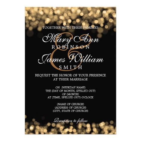 elegant wedding gold lights 5 quot x 7 quot invitation card zazzle