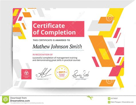 design certificate of completion certificate of completion template indesign gallery