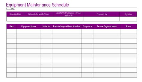 maintenance schedules templates equipment maintenance schedule template excel planner