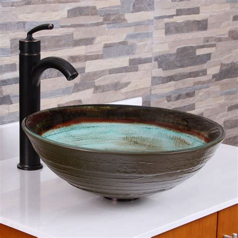 red vessel bathroom sinks elite 1511 space tunnel pattern tempered glass bathroom