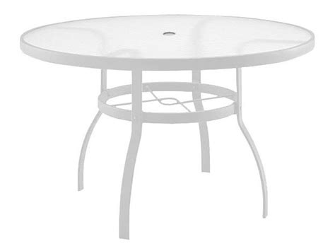 Woodard Deluxe Aluminum White 48 Round Acrylic Top Table White Patio Table With Umbrella
