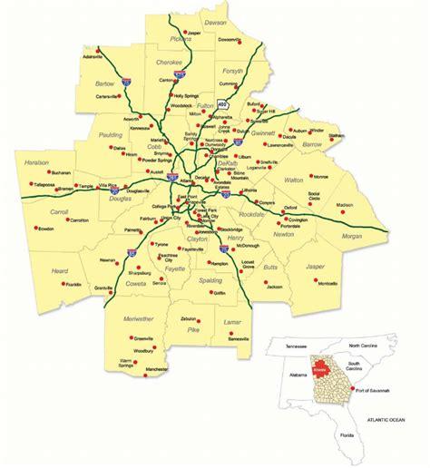 map of atlanta ga suburbs metro atlanta regional map