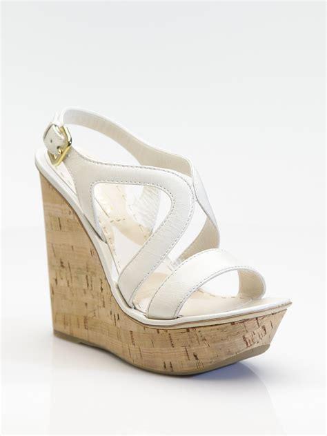 Sandal Wedges Prada Made In Italy lyst prada cork wedge sandals in white