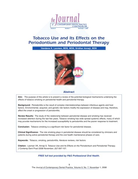 Periodontitis And Systemic Diseases A Literature Review by Tobacco Use And Its Effects On The Periodontium And Periodontal Therapy Pdf Available