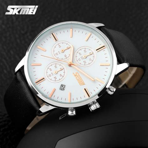 Jam Tangan Kulit Asli Skmei 9103 skmei jam tangan analog pria 9103cl black white