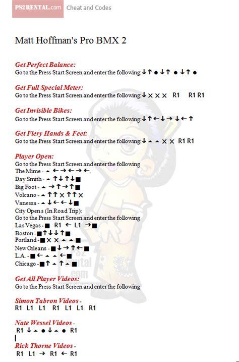 Mat Hoffman Pro Bmx 2 Cheats by Playstation 2 Code Center December 2010