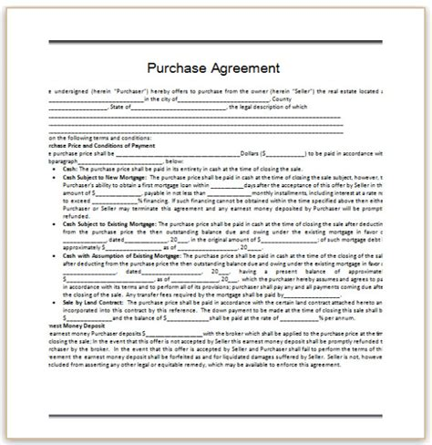 template for purchase agreement microsoft office templates purchase agreement template