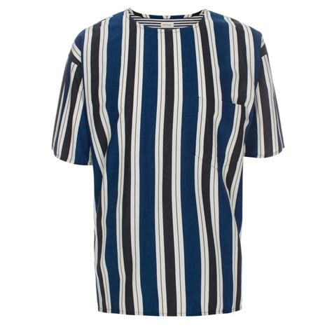 S S T Shirt With Stripe paul smith s oversized blue vertical stripe cotton