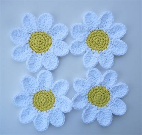 pattern crochet daisy free patterns beautiful crocheted daisy coasters knit
