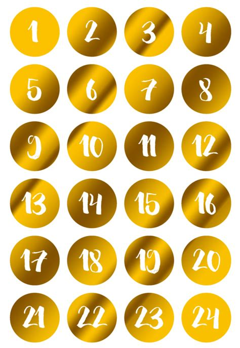 Aufkleber Zahlen 1 24 by Adventskalender Zahlen 1 24 Hotfoil Zahlenaufkleber