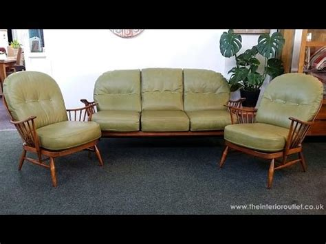 windsor green couch vintage ercol windsor sofa 2 windsor armchairs