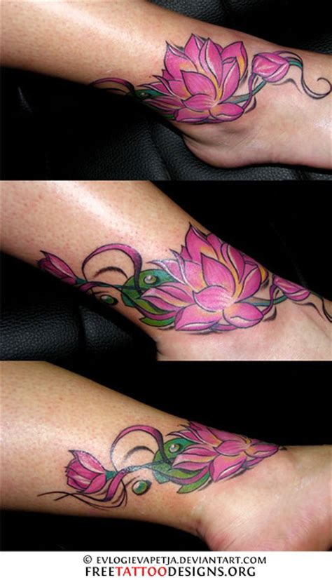 lotus tattoo colour beautiful color ink lotus flower tattoo on ankle