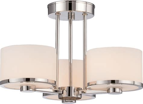 Drum Lighting For Ceilings by Nickel Drum Shade Semi Flush Ceiling Light 15 Quot Wx11 Quot H