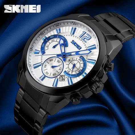 Jam Tangan Pria Skmei 9108 Silver White Original Water Resistant 50m skmei jam tangan analog pria 9108cs white silver