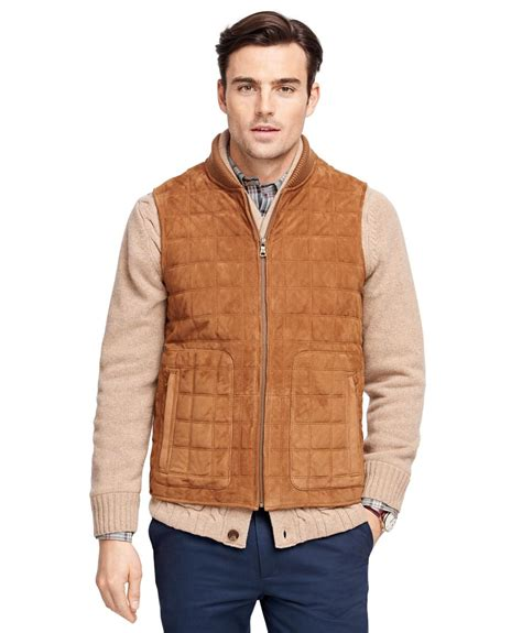 Bros Fashion Goat B 001 lyst brothers quilted suede vest in brown for