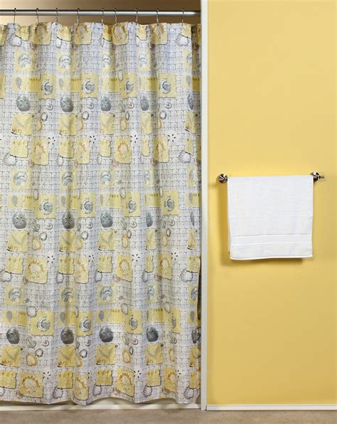 Beachy Curtains Designs Luxury Bathroom Design With Yellow Seashell Themed Shower Curtains And Brushed Nickel