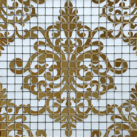 designer tile crystal glass tile gold mosaic collages design interior