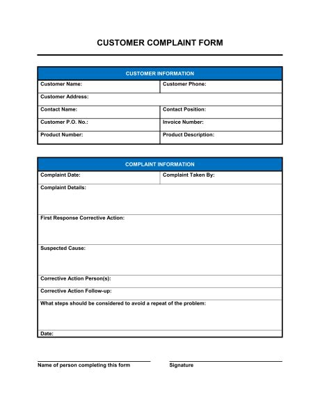 complaint form template customer complaint form template sle form biztree