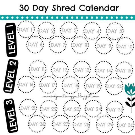 Calendar 30 Days 30 Day Shred Calendar Jillian 30 Day Shred 30ds