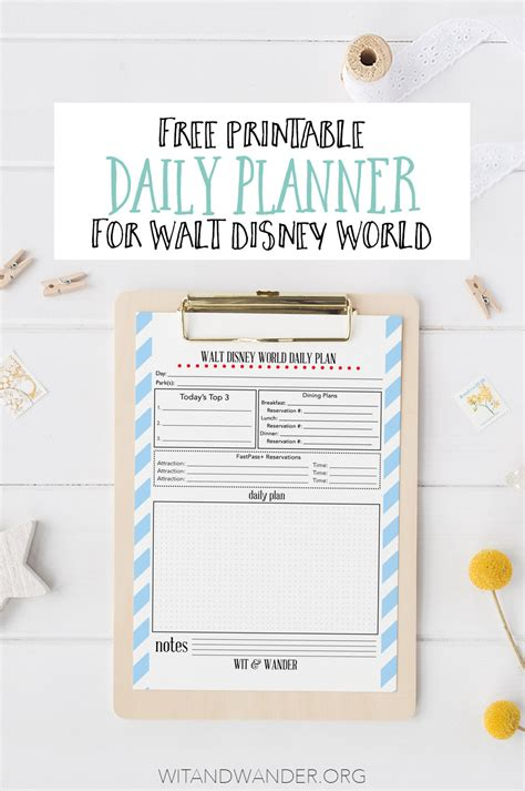 disney world printable daily planner free printable walt disney world daily planner our