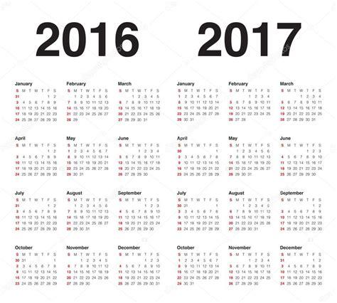 2016 And 2017 Calendar Calendar 2016 2017 Stock Vector 169 Dolphfynlow 86321080